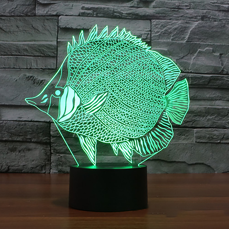 Fish Shape 3d Table Lamp LED 7 Color Changing Touch Switch USB ...