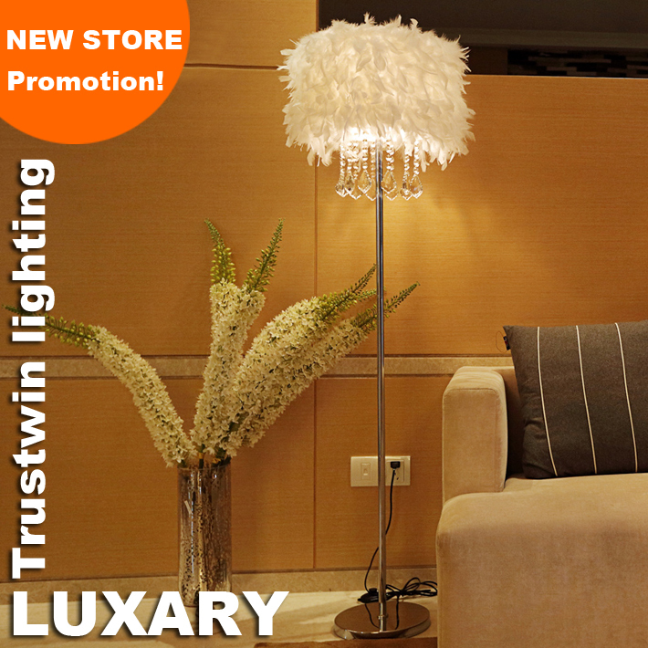 New store promotion home family hotel decoration with feather shade LED floor light crystal floor lamp