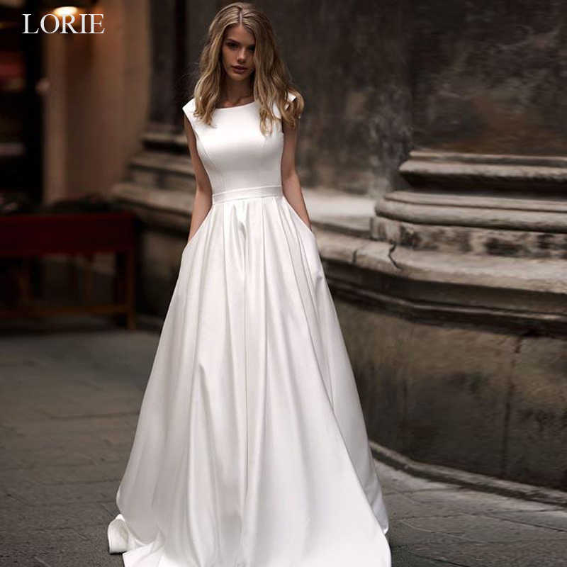 LORIE marca de moda vestidos de casamento 2019 Mancha vestidos de noiva vestido de noiva simples Sexy aberto para trás sem mangas vestidos de casamento