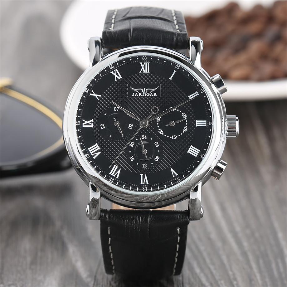JARAGAR black genuine leather band mechanical watch men07