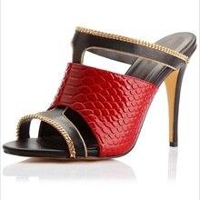 купить Women sandals Snake Print Sexy Women Mules Sandals Peep Toe Slip-on Shallow 10Cm High Heel Shoes Slippers 2019 Summer по цене 5246.03 рублей