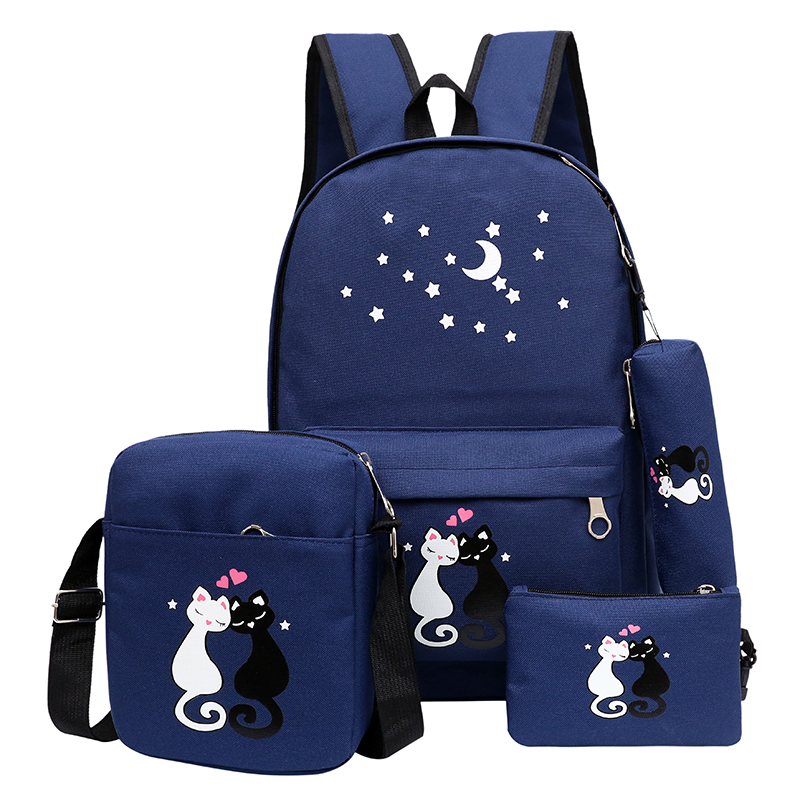 5Pcs/set Canvas School Backpack Women Printing