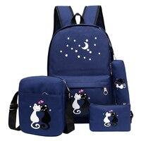 5Pcs/set Canvas School Backpack Women Printing Cute Cat Backpacks For Teenager Girls Green Rucksack Moclila School Bag female