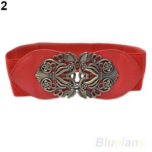 Fashion Leader Retro Fashion Adjustable Flower Elastic Stretch Buckle Wide Waist Belt Waistband