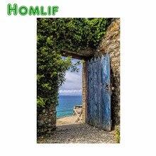 Значок с вышивкой в виде ромба дверь с видом на океан вилла на заказ Алмазная картина Полная площадь живопись с пионами pintura manualidades