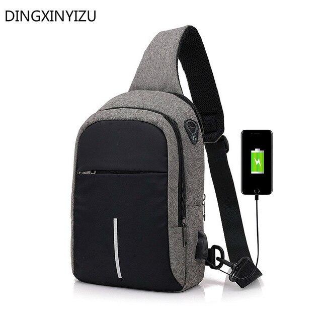 2494271ba7ab Men Chest Bags USB Charging Waterproof Oxford Crossbody Small Sling Single  Shoulder Bags Travel Pack Male Bolsa Feminina Handbag