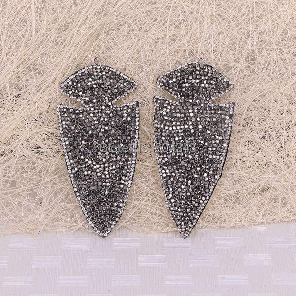 5pcs Big Size Pave Crystal Rhinestone Arrow Pendant,  Stones For Jewelry Making