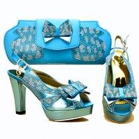 Nice turquoise blue rhinestones fashion african aso ebi shoes and bag matching set shoe and bag set italian shoes bags SB8317 2