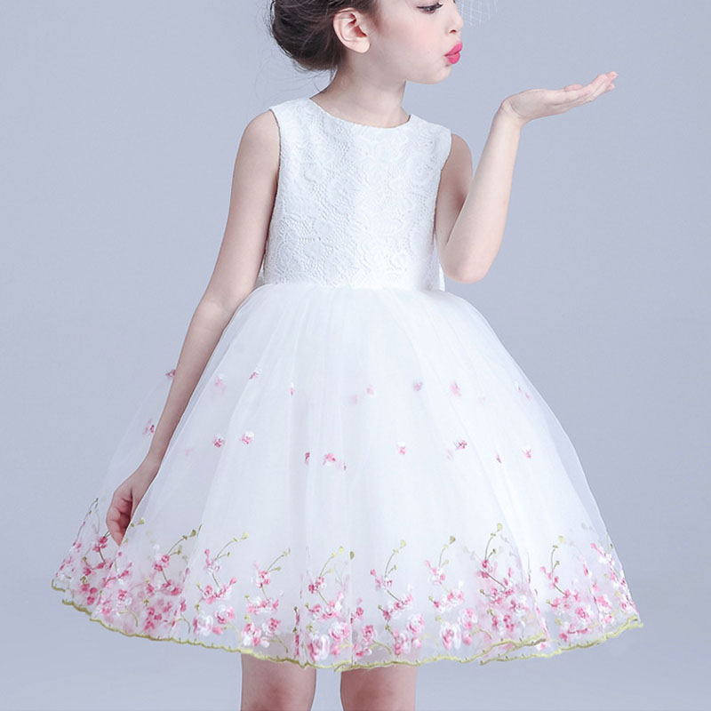 baby girls  Lace  dress  Girls  sleeveless knee-length Princess Party Dress bow  girl long white dress kids clothing lace party big baby girl dress long sleeve autumn cotton bow red white princess dress kids baby girl dress children clothing