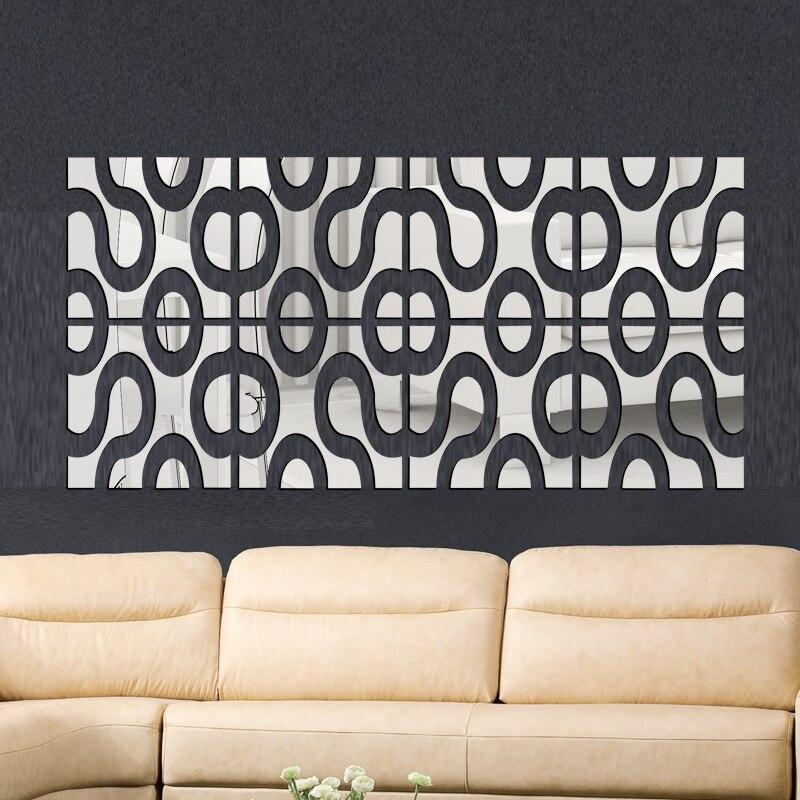24 Pcs Set Wall Decor 3d Mirror Wall Stickers Diy Acrylic Mirror Surface Decorative Wall Sticker Home Decor Sets Hot Sal