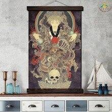 Лучший!  Ямамото Череп Art Picture Modern Wall Art Печать Поп-Арт Картина И Плакат Кадр Висящий Свиток
