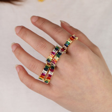 Rainbow stone colorful square cut stack ring gold color plat