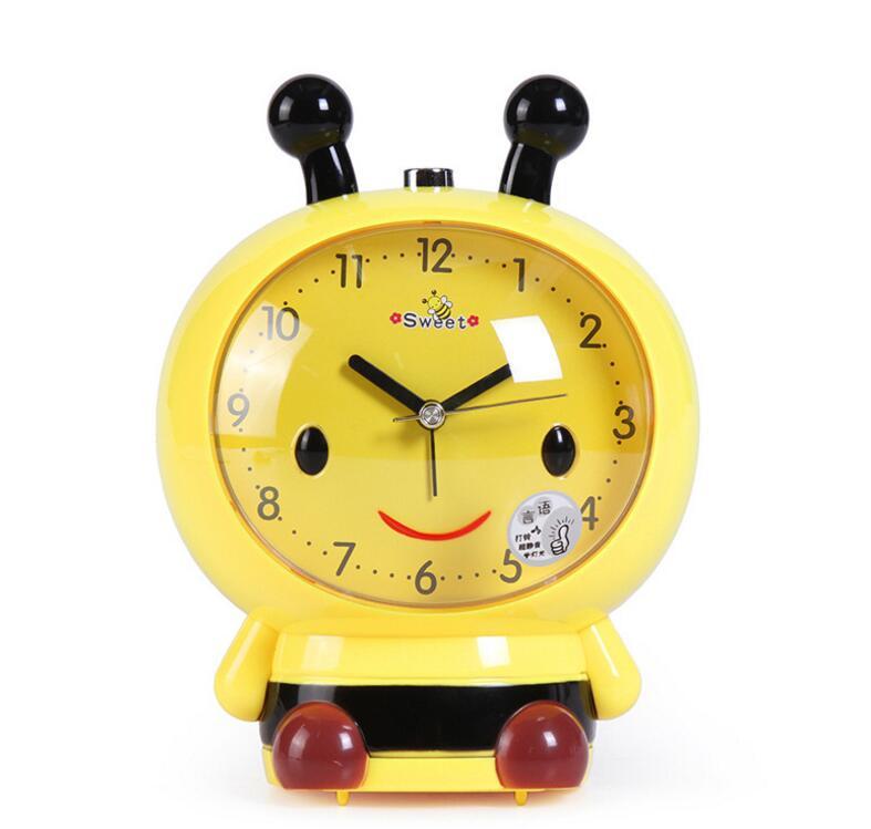 new 20pcs/lot! Small Bee Alarm Clock Voice Cartoon Mute Desk Clock Child Music Alarm Clock Gift 4 colors