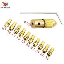 12 шт./компл. мини-дрель латуни цанговый патрон для qstyxpress роторный инструмент, в том числе 0,5/0,8/1,0/1,6/1,8/2,0/2,2/2,4/3,0/3,2 мм