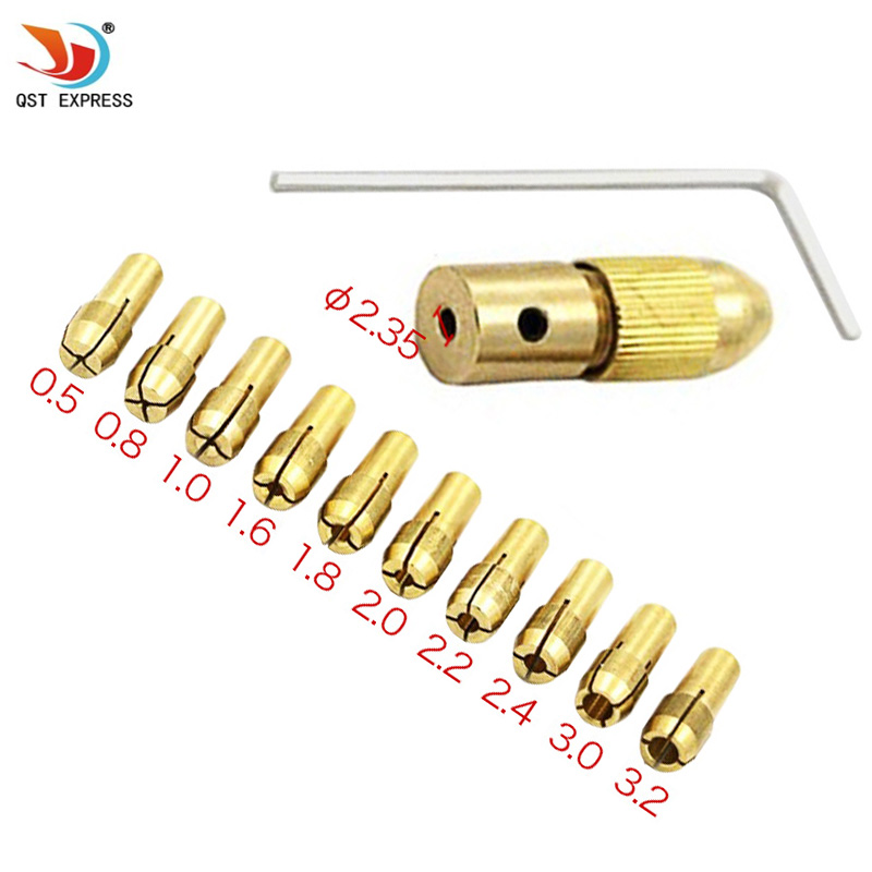 12pc/Set Mini Drill Brass Collet Chuck For Qstyxpress Rotary Tool Including 0.5/0.8/1.0/1.6/1.8/2.0/2.2/2.4/3.0/3.2mm