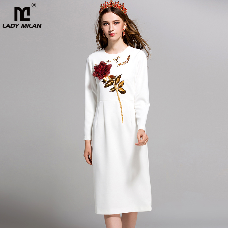 New Arrival 2018 Spring Womens O Neck Long Sleeves Sequined Roses Elegant Straight Fashion Dresses