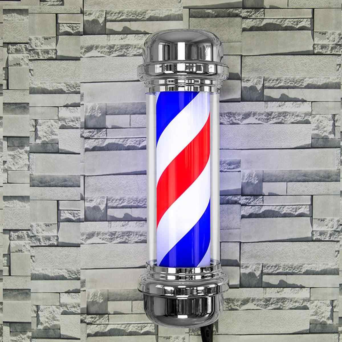110V/220V LED Barber Shop Sign Pole Light Red White Blue Stripe Design Roating Salon Wall Hanging Light Lamp Beauty Salon Lamp