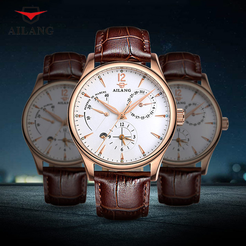 Brand Elegant Men Business Statement Watches Workable Analog Male Real Leather Wristwatch Self-wind Mechanical Watch 2 Time ZoneBrand Elegant Men Business Statement Watches Workable Analog Male Real Leather Wristwatch Self-wind Mechanical Watch 2 Time Zone