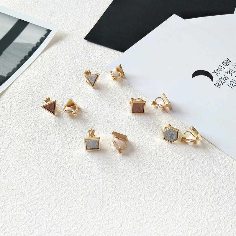 High Quality Simple Style Triangle Hexagon Square Shaped Gold Color Clip Earring For Women Girls No Ear Hole Jewelry Gifts