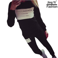 2017 Fashion Spring Autumn Winter Sportswear Printed Letter Fall Tracksuits Long Sleeve Casual Costumes Mujer 2
