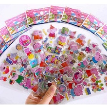 100 pcs/set Peppa Pig 3D Bubble Sticker Cartoon Toy Pink Action Character Child Gift