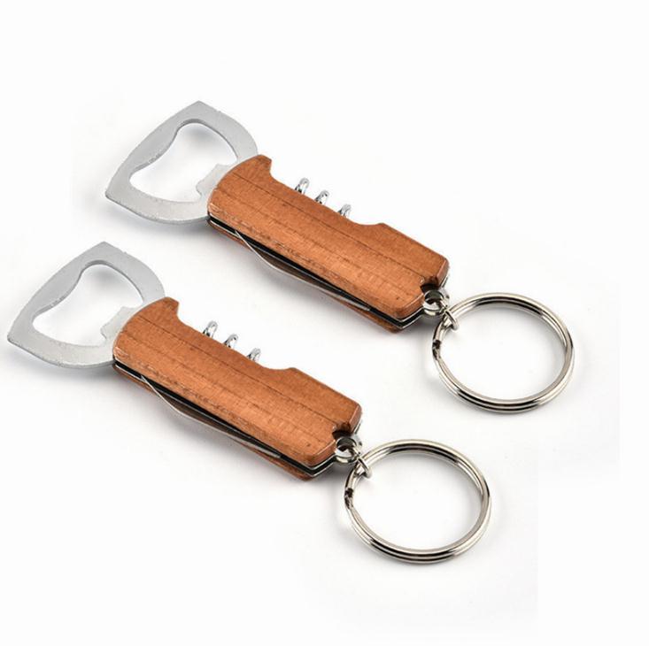Durable Stainless Steel Keychain Corrosion-Resistant Anti Wear Keyring Red Wine Bottle Opener Key Chians For Men Women SN2296