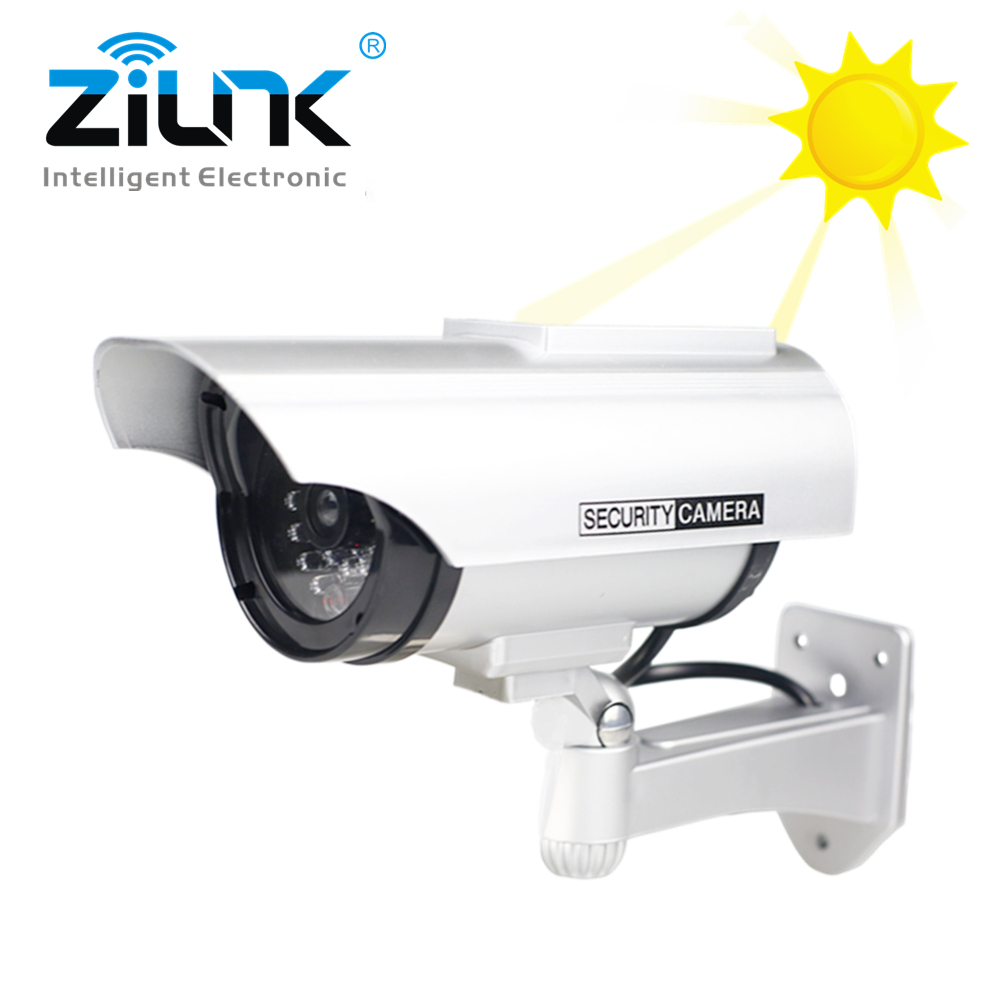 все цены на ZILNK Solar Fake Dummy Camera Bullet Outdoor Waterproof Security Camera Indoor CCTV Surveillance With Flashing Red LED Wholesale