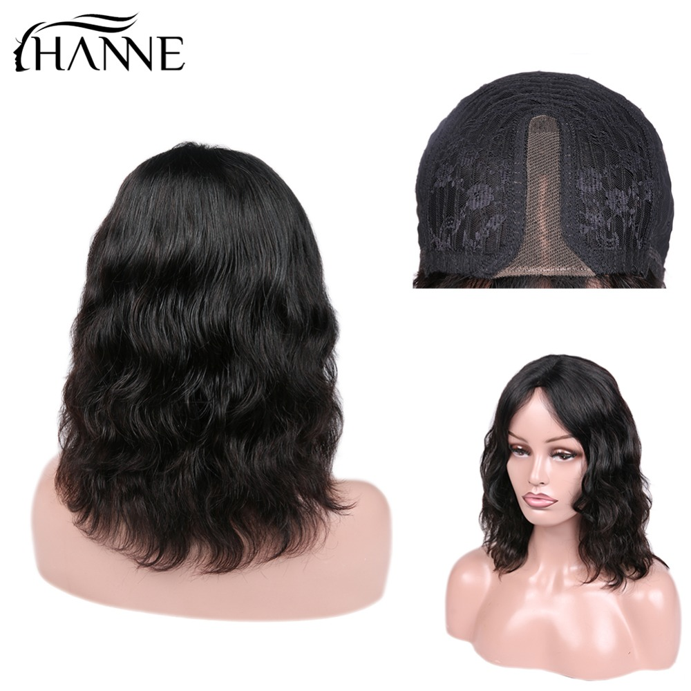 Natural Wave Lace Front Human Hair Wigs Middle Part Short Remy Wig For Black Women Perruque Cheveux Humain 1B#/99J HANNE Hair