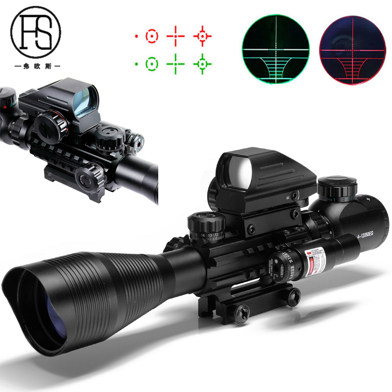 Hunting Optics Fiber Sight Tactical 4-12X50 Riflescope Red Green Dot Holographic Sight 4 Reticle Red Laser Sight 20mm Rail riflescope 4x32 compact scope fiber sight sports for 20mm rail red dot sight hunting