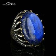 Piedra semipreciosa Lapislázuli Anillos de Dedo de Oro Antiguo DFR394 PlatedPunk anel Marca de Moda Joyería de La Vendimia Al Por Mayor