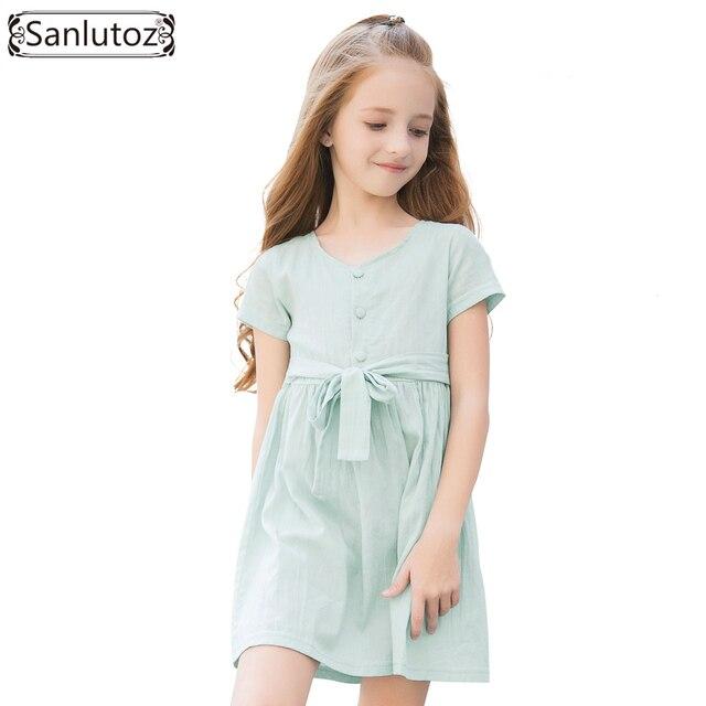 Sanlutoz Meninas Vestido de Algodão Vestidos de Praia do Verão Para Meninas Roupas Da Menina Da Criança de Manga Curta Roupas Crianças Princesa Do Vintage