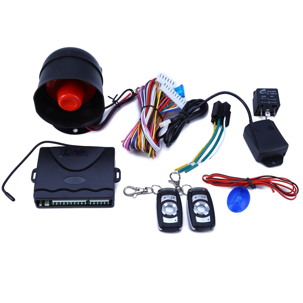 Universal Security Key 12V Burglar Alarm Security Protection System Car One Way Vehicle Alarm System with 2 Remote Control Auto
