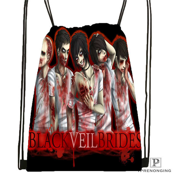 Custom Black-Veil-Brides Drawstring Backpack Bag Cute Daypack Kids Satchel (Black Back) 31x40cm#180611-01-08