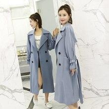 Мода двубортный длинный плащ пальто для Для женщин 2018 Весна-осень новый корейский Chic ветровка женский с поясом пальто A62