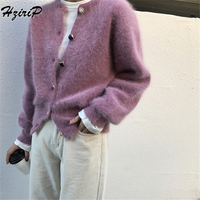 HziriP 2018 Autumn Winter Sweaters Women Knitted Slim Cardigans Solid 2 Colors Single Breasted O Neck Tops Vintage Fuzzy Sweater
