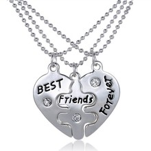 2015 Hot Selling high quality split heart 3pcs/ Set friendship bff necklace best friends Jewelry necklace set with ball chain