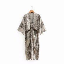 2019 Vintage V-neck snake print kimono wrinkled draped loose bat sleeve bohemian beach kimono medium long Vestido kimono geo print v neckline kimono