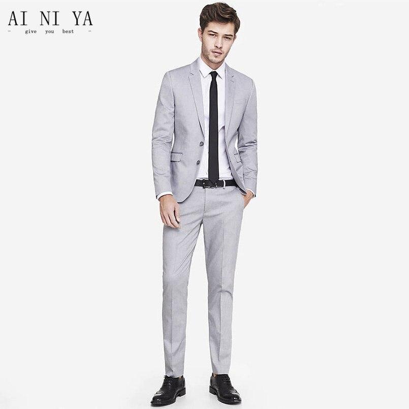 Мужской костюм, Весенний костюм, костюм джентльмена, бизнес, Корейская версия, костюм, брюки, двухсекционный комплект - 2
