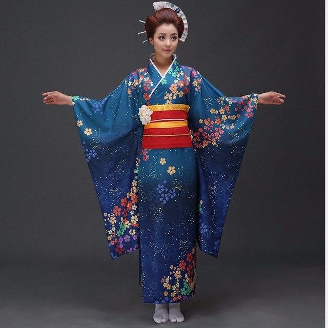 Yeni Mavi çok iyi Geleneksel Japon kadın Polyester Saten Kimono Yukata Mujeres Quimono Abiye Çiçek Bir Boyut