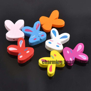 Mixed Wooden ribbit Spacer Bea