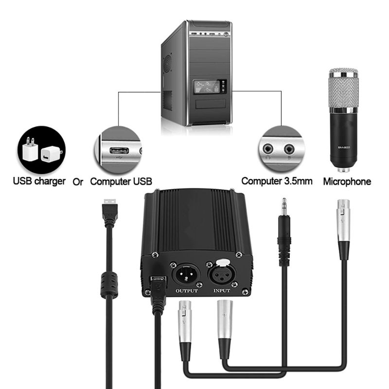 Portable 1 Channel 48V USB Phantom Power USB Cable XLR 3Pin Microphone Cable For Any Condenser Microphones Accessories