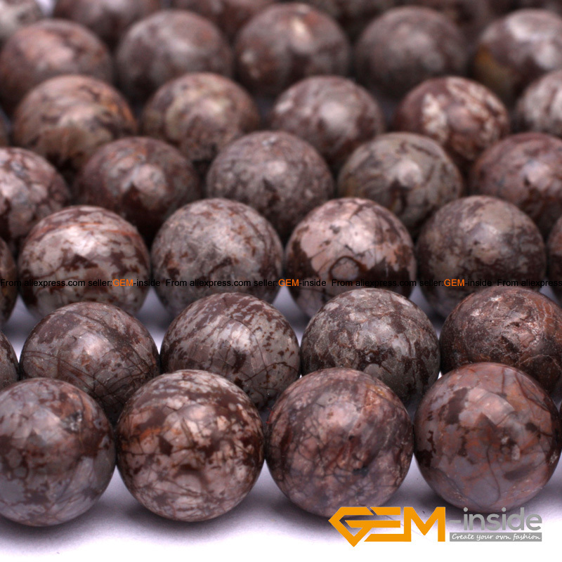 "Round Brown Jasp er Beads Natural Stone Bead DIY Bead For Neclklace Or Bracelet Making Wholesale! Strand 15"" Free Shipping"