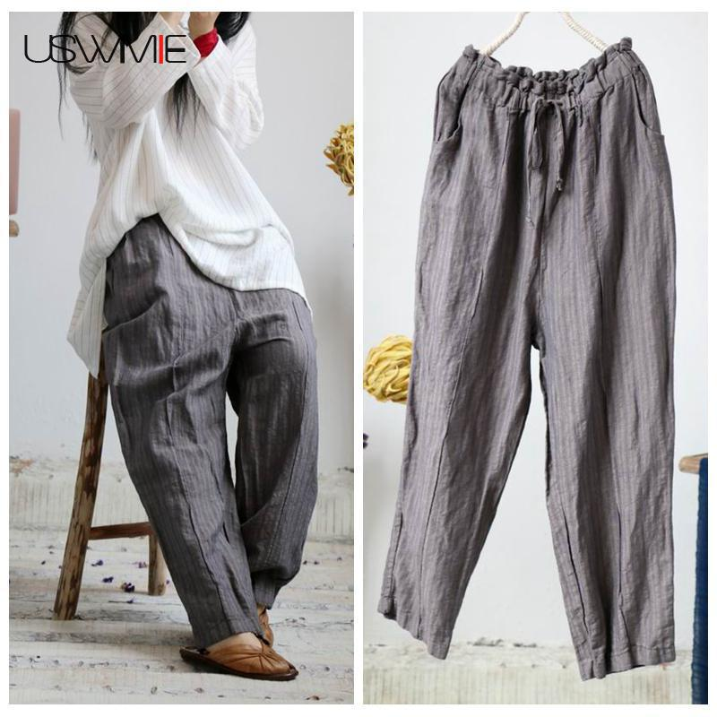 USWMIE 2018 Summer Trousers Women Literature Vintage Joker Linen Elastic Waist Solid Color Comfort Pockets Gray   Wide     Leg     Pants
