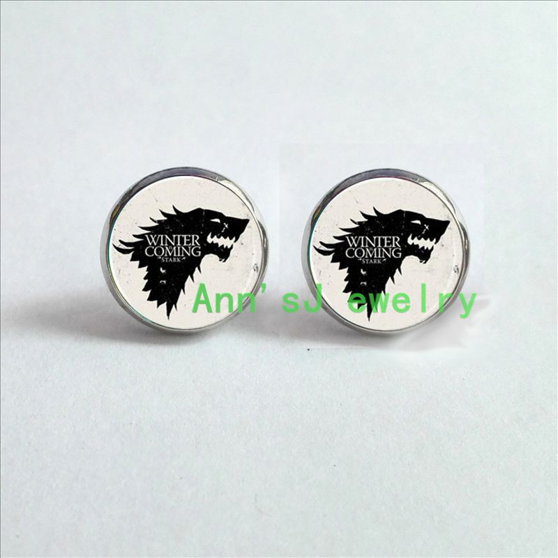 Us 0 92 45 Off Hz4 00106 Game Of Thrones House Of Stark Sigil Direwolf Robb Stark Winter Is Coming Ear Nail Jewelry Glass Cabochon Ear Stud In Stud