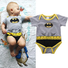 Cotton Baby Boy Short Sleeve Bodysuit Cute Baby Girl Jupsuit Gray Kids Pajamas Outfits Batman Toddler Clothes