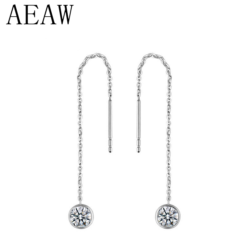 AEAW Solid 14K White Gold 3mm Round 0 2 Carat Lab Grown Moissanites Diamond Drop Earrings