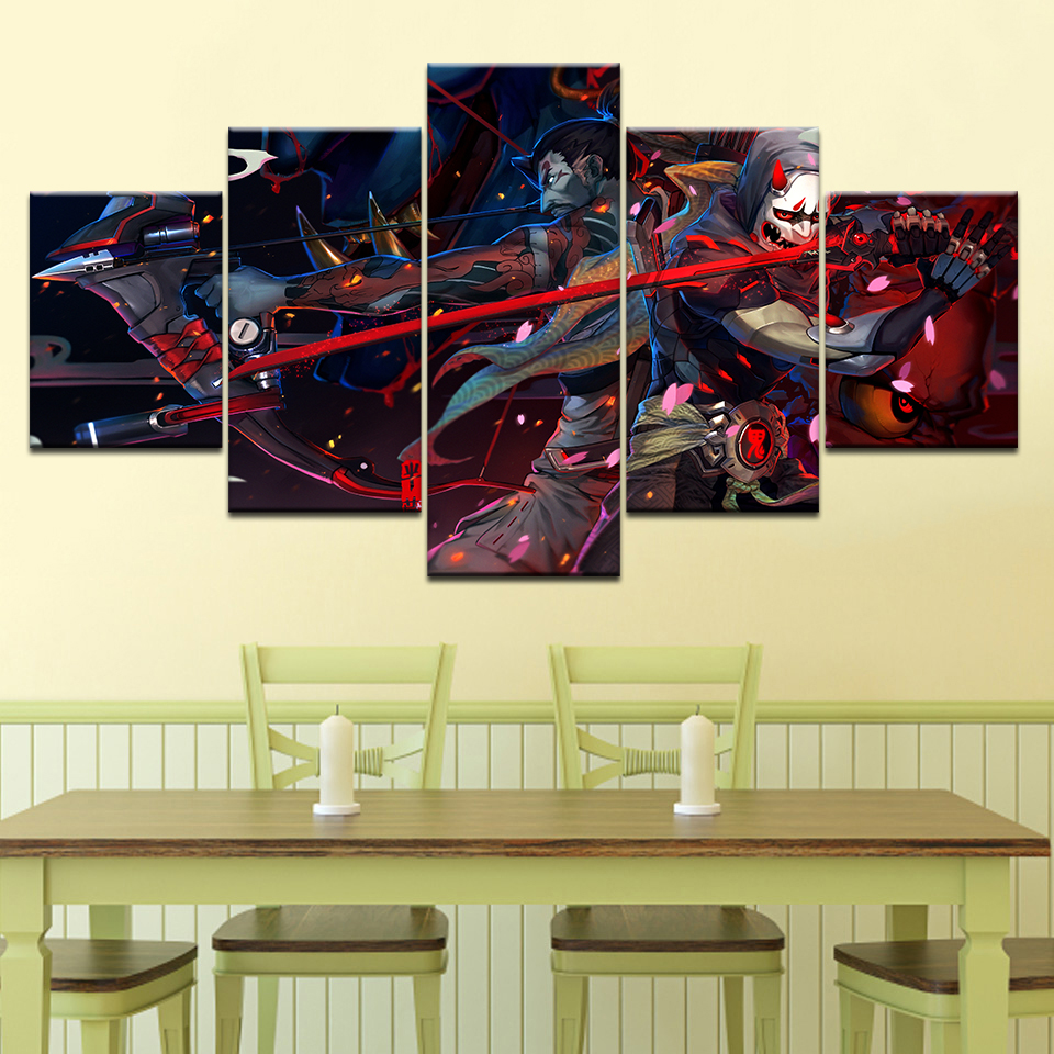 Canvas Printed Wall Art 5 Panel Overwatch Genji And Hanzo Pictures ...
