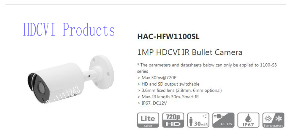 Free Shipping DAHUA CCTV Security Camera 1MP HDCVI IR Bullet Camera IP67 without Logo HAC-HFW1100SL free shipping dahua cctv camera 4k 8mp wdr ir mini bullet network camera ip67 with poe without logo ipc hfw4831e se