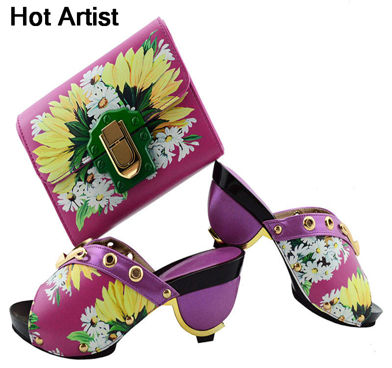 Hot Artist New Arrival Italian Ladies Printed Flower PU Shoes And Bag Set African Style Pumps Shoes And Bag Set For Wedding GL01 hot artist african style matching woman shoes and bag set new italian summer pumps shoe and bag set for wedding party g32