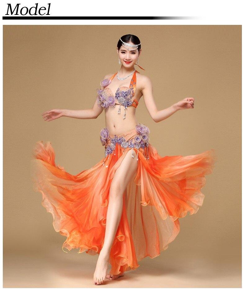 86c9c2e374 Bellydance Professional Costumes Egyptian Costume Set Stage Women Dancewear  Performance Bra Belt Belly Dance Top Maxi Skirt